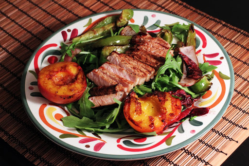 Grilled Pork Salad with Balsamic Peaches & WatermelonMargaritas