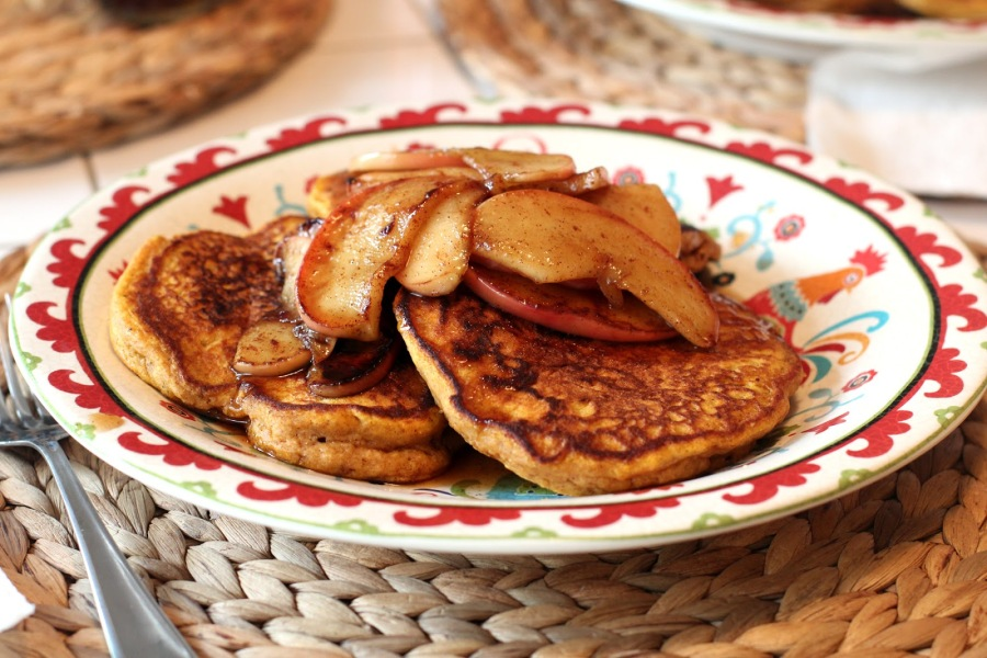 Pumpkin Pancakes with AppleCompote