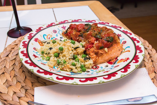 Salmon with Melting Tomatoes and Pine Nut Mint Couscous