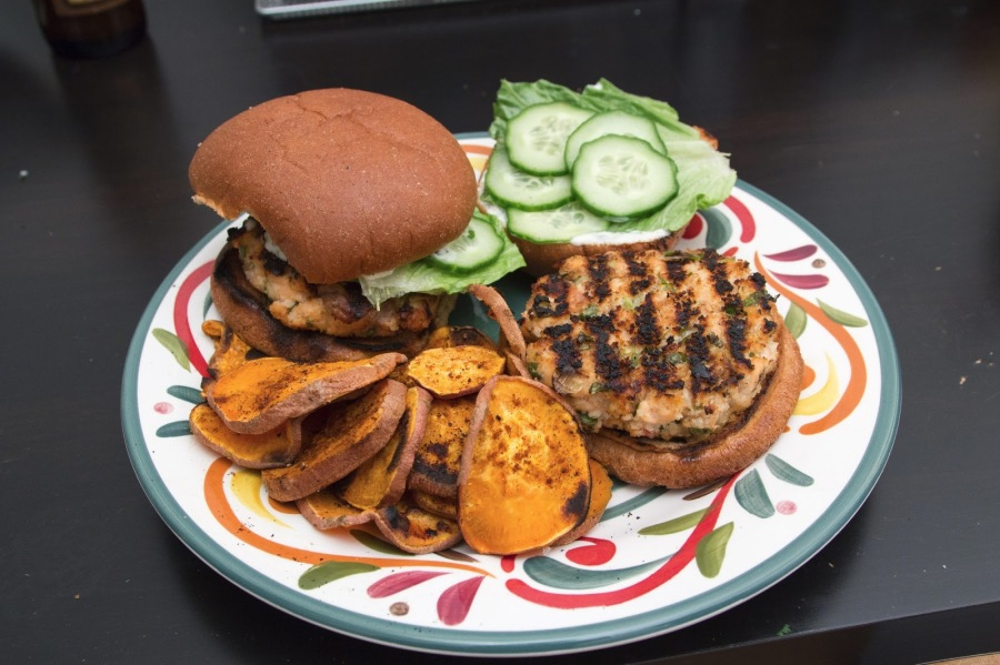 Salmon Burgers with Sweet Potato Chips