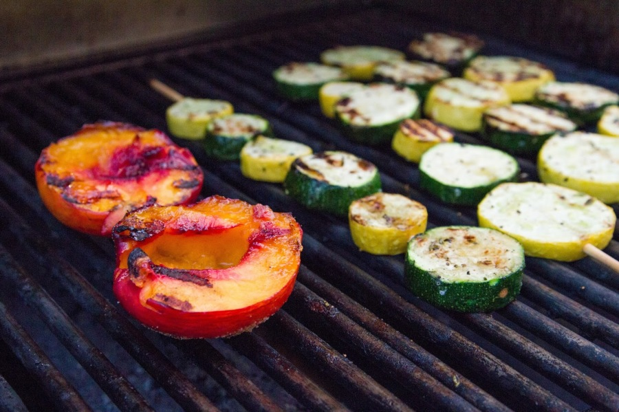 Pork Chops with Grilled Nectarines and Vegetable Kebabs