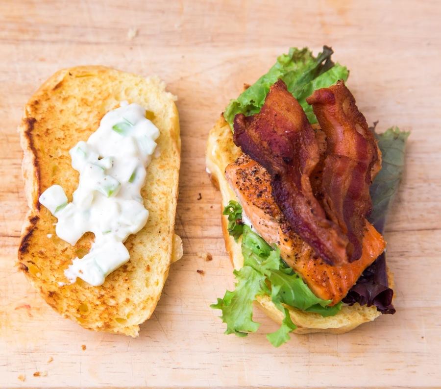 Salmon Brioche Sliders with Bacon & Apple-Horseradish Mayo