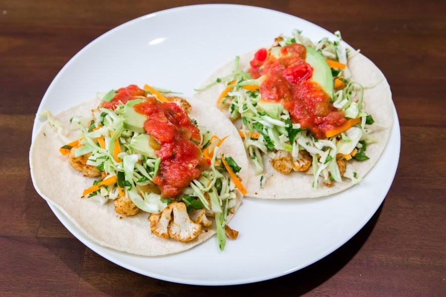 Roasted Cauliflower Tacos with CilantroColeslaw