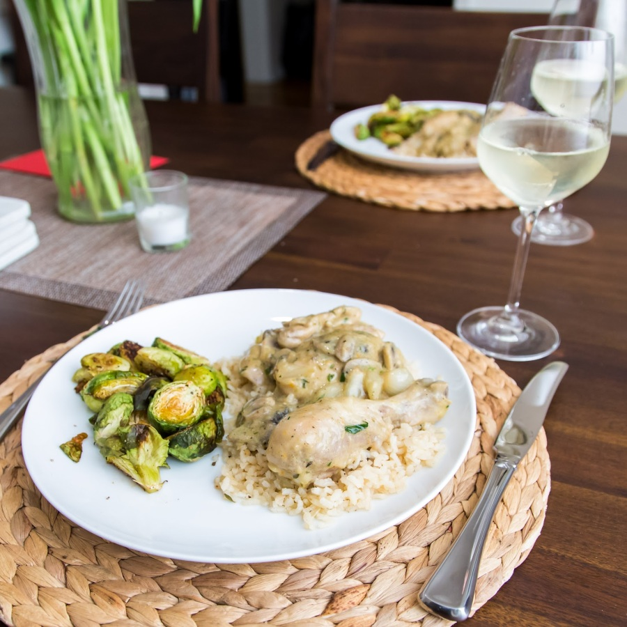 Chicken Tarragon Fricassee with Rice and Roasted Brussels Sprouts