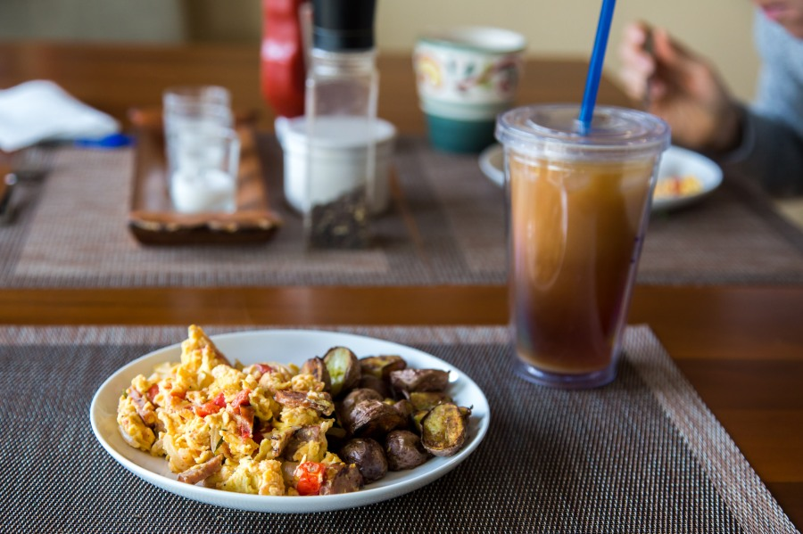 "Saturday Morning ""Everything"" Eggs and Crispy Breakfast Potatoes + ColdBrew"