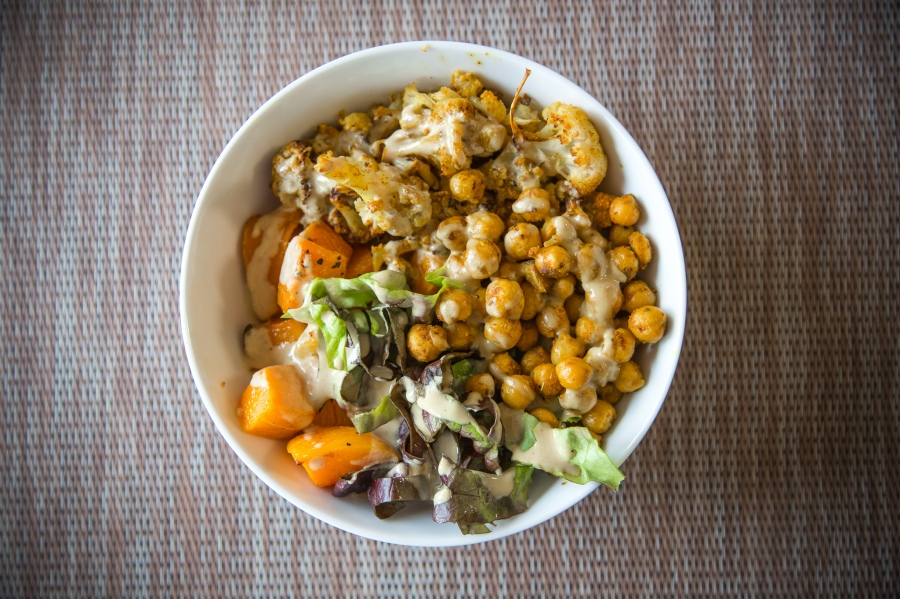 Curried Cauliflower and Chickpea Buddha Bowls