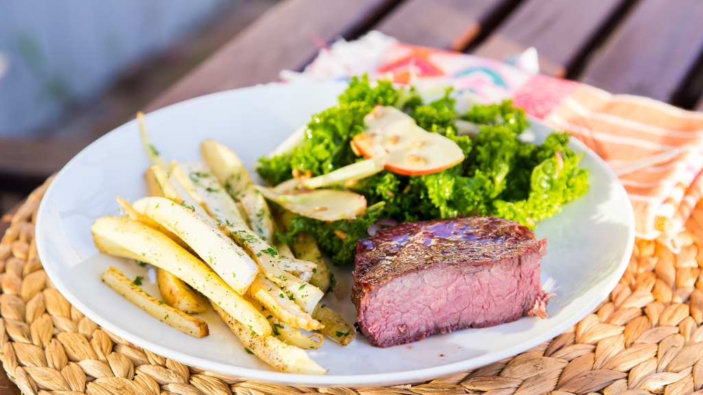 perfect-grilled-steak-parsnip-fries-kale-salad