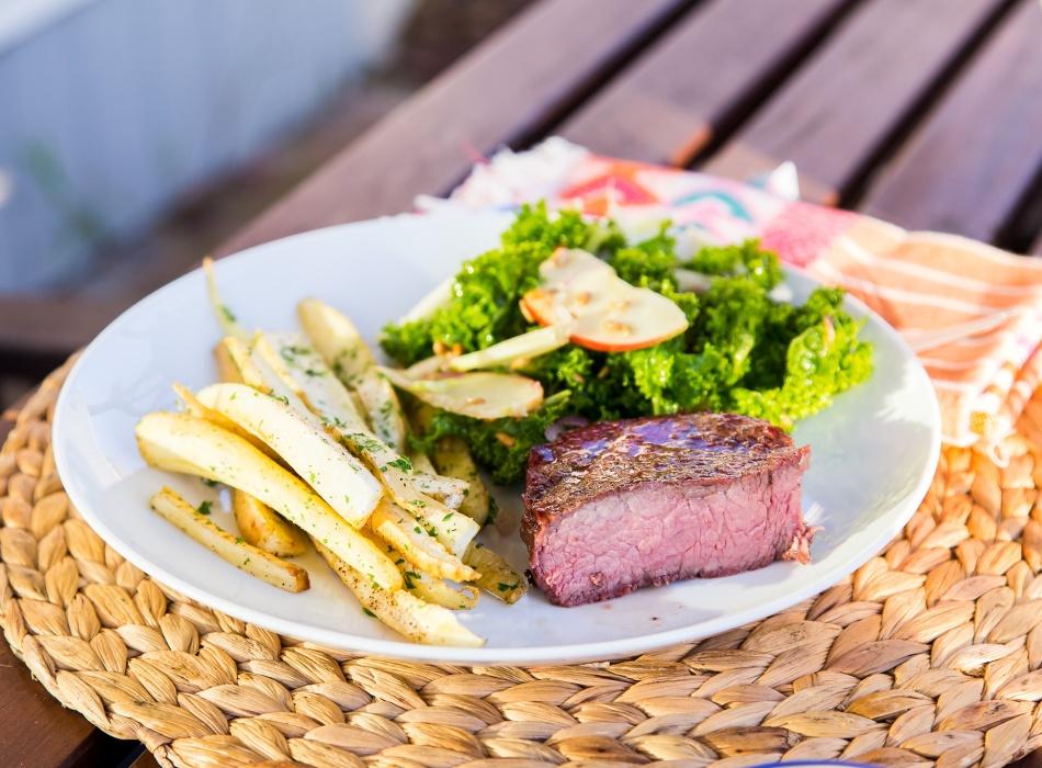 perfect-grilled-steak-parsnip-fries-kale-salad