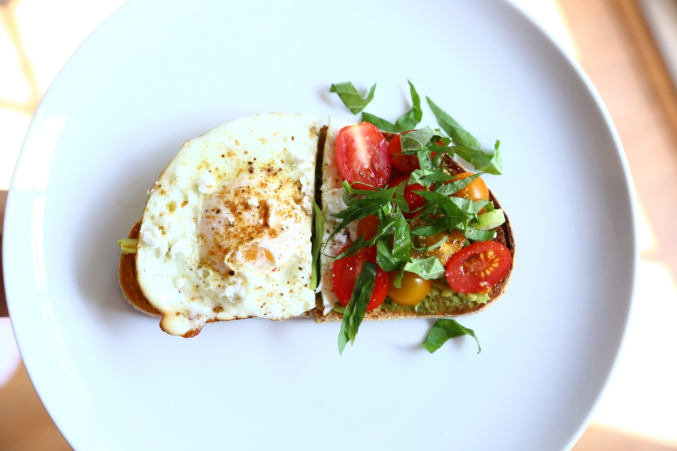 tomato-gazpacho-green-mango-salad-avocado-caprese-toast-fried-egg-ina-garten