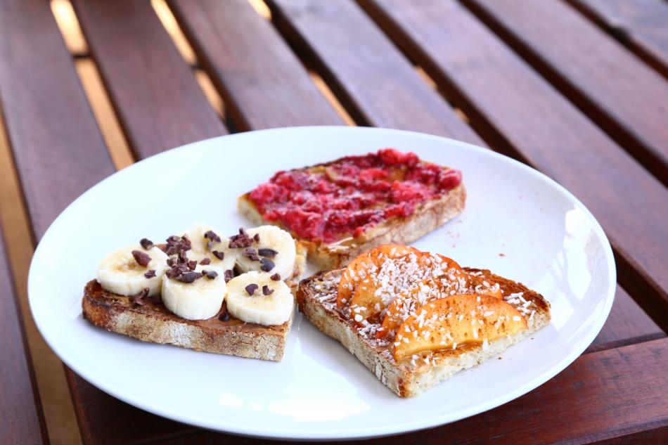 almond-butter-peanut-butter-sourdough-toast-raspberry-chia-jam