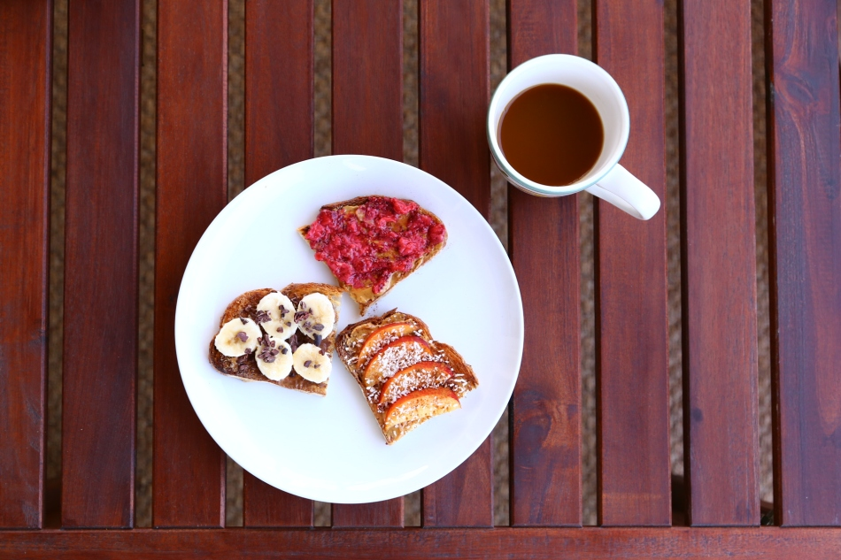 almond-butter-peanut-butter-sourdough-toast-raspberry-chia-jam