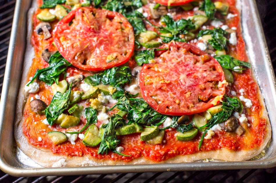 Grilled Heirloom Tomato Veggie Pizza-Tomato-Sauce