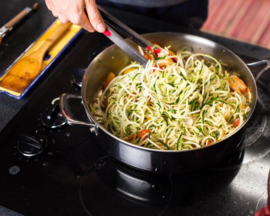 Pesto Shrimp Zoodles-zucchini-noodles
