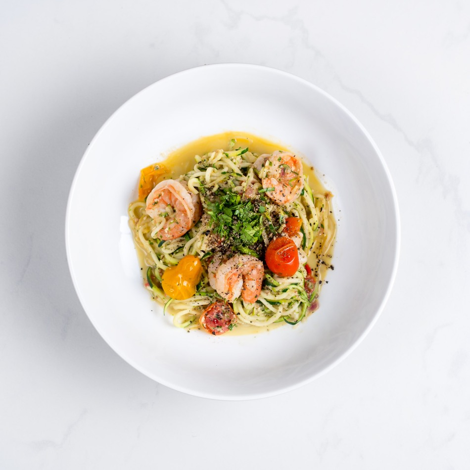 Pesto-Shrimp-Zoodles-Spiralizer