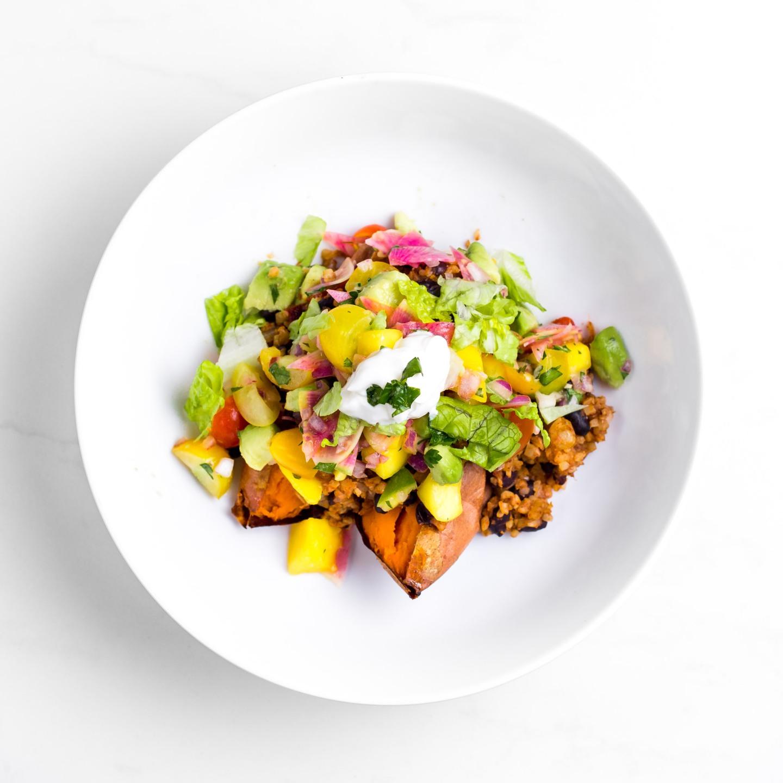 Cauliflower Rice Sweet Potato Burritos with Mango Salsa Vegan Recipe