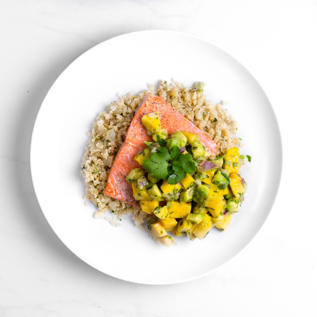 Salmon with avocado mango salsa and cauliflower rice healthy quick dinner